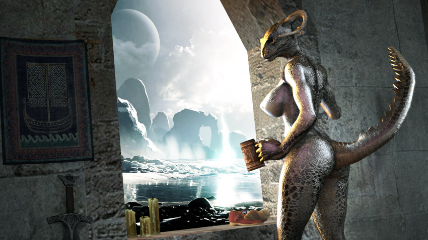 cosplay argonian lusty maid the Shadow spawn from beyond the stars gf